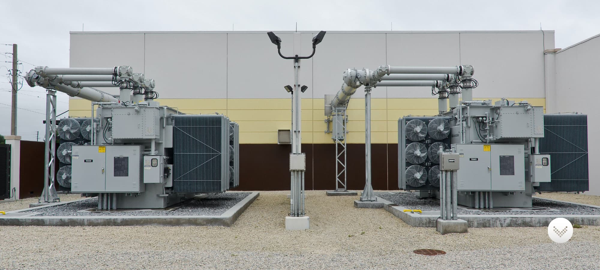 Electrical transformer site situated outside of a building