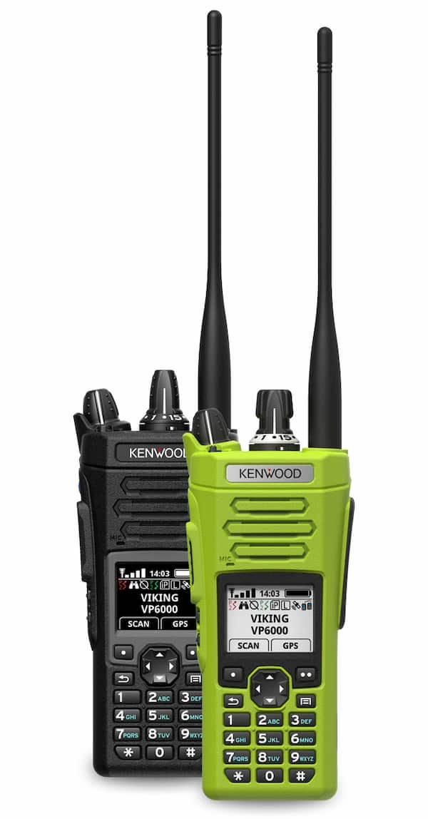 Kenwood VP 6000 radios in black and high visibility green